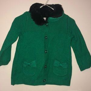 Green Gymboree faux fur sweater